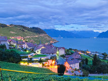 Village in vineyards, Switzerland. Peaceful village at dawn in the Lavaux vineyards in Switzerland, an UNESCO World Heritage Site stock images