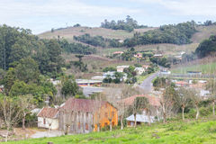 Village and Vineyards in winter, Vale dos Vinhedos valley Royalty Free Stock Photo