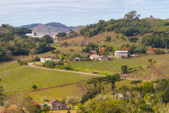 Village and Vineyards in winter, Vale dos Vinhedos valley Stock Photo