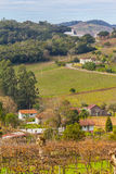 Village and Vineyards in winter, Vale dos Vinhedos valley Stock Image