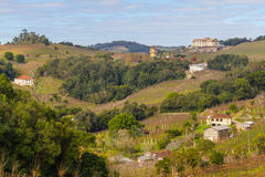 Village and Vineyards in winter, Vale dos Vinhedos valley Stock Images