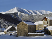 The village of Viu, Pyrenees, Spain. Near the Ordesa National Park, lies the small village farmer and tourist Viu Royalty Free Stock Photography