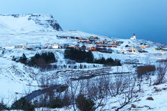 Village of Vík in  twilight. Stock Photos