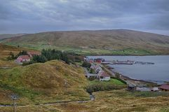 The village of Voe in the Shetland islands. The quiet village of Voe in the Shetland islands with a small marina and country pub royalty free stock image
