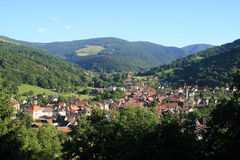 Village in the Vosges. Metzeral, picturesque village of mountain in Alsace Royalty Free Stock Photography