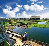 Village on water, Inle Lake, Burma (Myanmar) Stock Photo