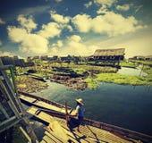 Village on water, Inle Lake, Burma (Myanmar), vintage retro. Stock Images