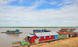 The village on the water of Tonle Sap Royalty Free Stock Image