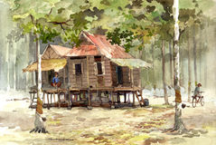 Village watercolor painting Stock Images