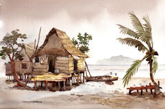 Village watercolor painting Royalty Free Stock Images