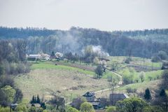 Village in the west of Ukraine. Hard life on the ground near the forest stock photos