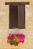 Village window with flowers Royalty Free Stock Images