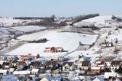 Village in winter Stock Photos
