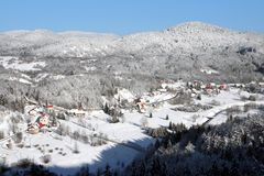 Village in Winter. Old village surrounded by hills in winter, Gorski Kotar, Croatia Stock Photography