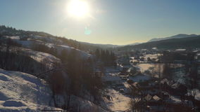 Village winter dawn panorama. Panorama Picturesque landscape time lapse of the early winter morning in the small village . Winter travel and holiday stock footage