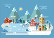 Village at winter with house and barn, church royalty free illustration