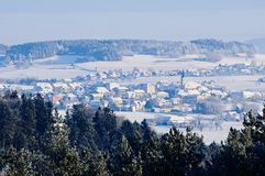 Village in Winter Landscape royalty free stock image