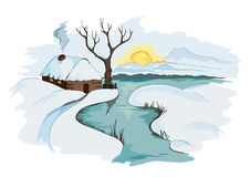 The village, a winter landscape. Illustration -- The village, a winter landscape Stock Photos