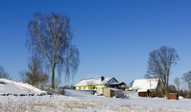 Village winter landscape Stock Image