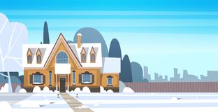 Village Winter Landscape House Building With Snow On Top City Or Town Suburb Street. Flat Vector Illustration Royalty Free Stock Image