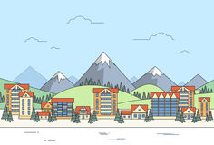 Village Winter Landscape Houses City Mountain. Vector Illustration Stock Images