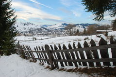 Village winter landscape Royalty Free Stock Images