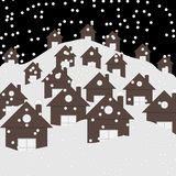 Village winter night landscape with snow covered houses and roofs. Beautiful Christmas winter flat landscape background.. Christmas wooden houses in the snow royalty free illustration