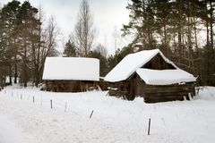 Village in a winter season Stock Photography