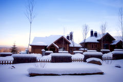 Village in winter season Royalty Free Stock Image