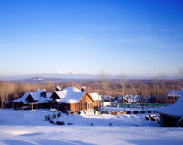 Village in winter season Royalty Free Stock Photos