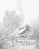 Village winter snow day Stock Photo