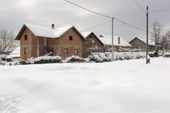 Village in the winter time royalty free stock photo
