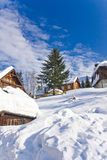 Village in wintertime Stock Photos
