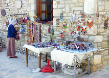 Village woman preparing her local stall Royalty Free Stock Images