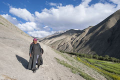 A village woman. In Rumbak valley, Ladakh after a days work in traditional dress royalty free stock image