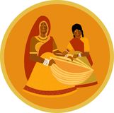 Village woman teaches daughter to weave baskets. Illustration of a village lady in traditional garb teaching her young daughter the traditional skill of basket Stock Photos