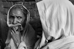 Village women. Village women waiting for the doctor in a medical camp Stock Image