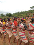 Village women link arms for  Gdaba harvest dance Royalty Free Stock Image