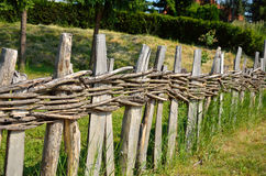 Village wooden fence in perspective Stock Photo