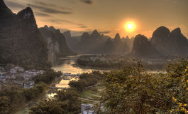 The village of xingping at the li river guangxi province Royalty Free Stock Images