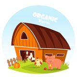 Cow at barn and pig at farm yard. Village yard with cow at barn and pig, pumpkin and apple. Paddock with fence and farm animals, cattle or livestock at corral royalty free illustration