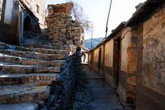 Village - Yue Zhai. Quaint stone house in a village in Yue Zhai Stock Images