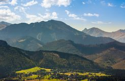 Village Zakopane in High Tatra Mountains. Beautiful landscape in summertime. popular tourist destination stock image