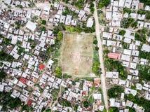Village on Zanzibar island with football field, top view Royalty Free Stock Photos