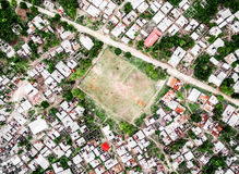 Village on Zanzibar island with football field, top view Stock Images