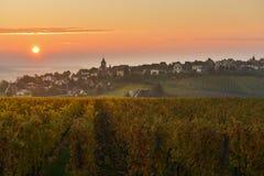 The Village of Zellenberg at sunrise,Alsace vineyard, France stock image