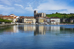 Village of Zumaia reflected in water Royalty Free Stock Image
