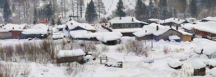 Village2 nevando Foto de Stock