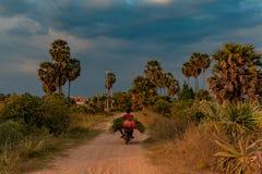 Villageois sur le vélo sur le chemin de terre cambodgien image libre de droits