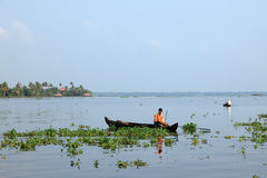 A villager in a boat do fishing in the backwaters Royalty Free Stock Image